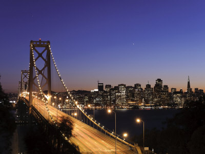 California, San Francisco, Oakland Bay Bridge and City Skyline, USA
