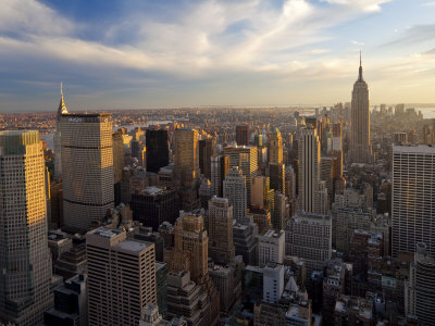 New York City, Manhattan, View of Downtown and Empire State Building from Rockerfeller Centre, USA Posters