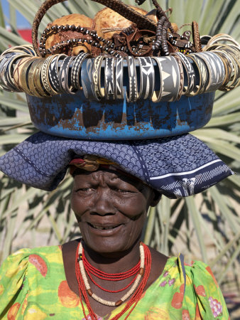 Himba Street Vendor at Opuwo Who Sells Himba Jewellery, Arts and Crafts to Passing Tourists