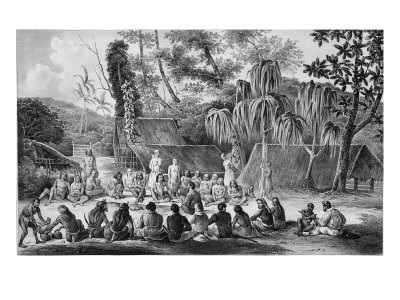 Native Chiefs of Tikopia Receiving Officers of the Astrolabe