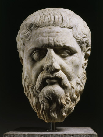 Marble Head of Plato 428-348 BC, Greek philosopher, 350-40 BC