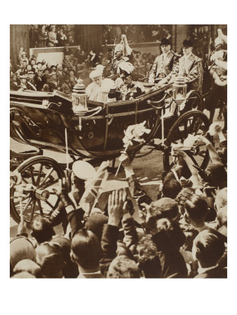 King George V and Queen Mary In Royal Carriage For Silver Jubilee Celebrations