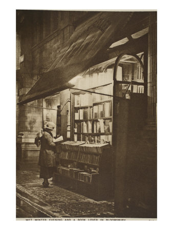 Examining a Book Outside a Second Hand Bookshop on a Wet Winter Evening, Bloomsbury