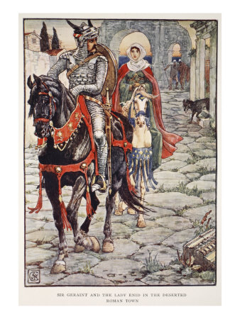Sir Geraint and Lady Enid in Deserted Roman Town, 'Stories of Knights of Round Table'