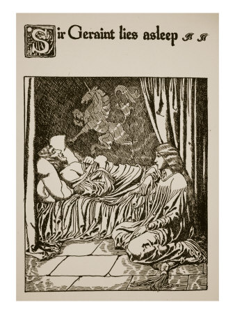 Sir Geraint Lies Asleep, Illustration from 'The Story of Grail and the Passing of Arthur', C.1910