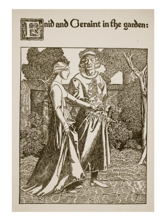 Enid and Geraint in Garden, Illustration from 'The Story of Grail and the Passing of Arthur'