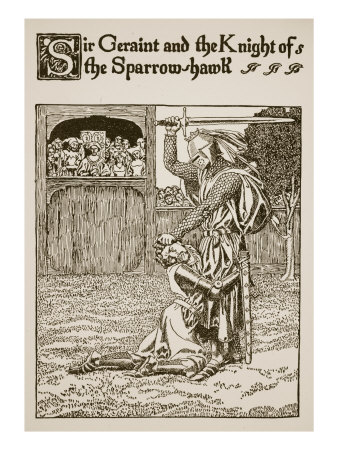 Sir Geraint and Knight of Sparrow-Hawk, Illustration 'The Story of Grail and the Passing of Arthur'