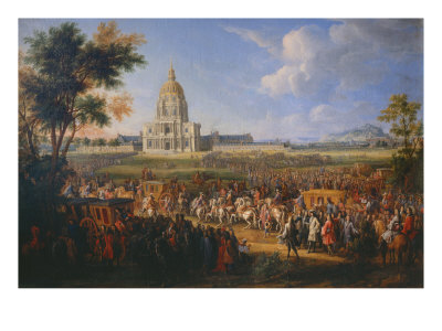Visit of King Louis XIV at the Hotel Royal des Invalides on July 14, 1701