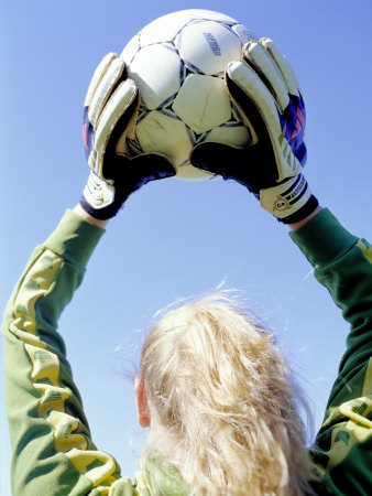 Buy View from Behind of a Girl Holding a Soccer Ball at AllPosters.com