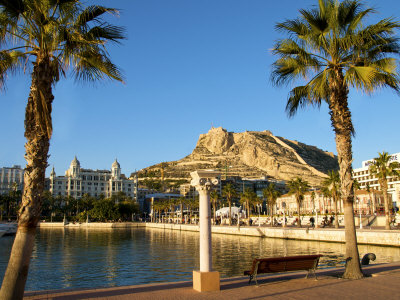 Santa Barbara Castle Seen from the Harbour, Alicante, Valencia Province, Spain, Europe