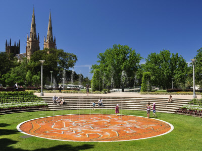 Hyde Park and St. Mary's Cathedral, Sydney, New South Wales, Australia, Pacific
