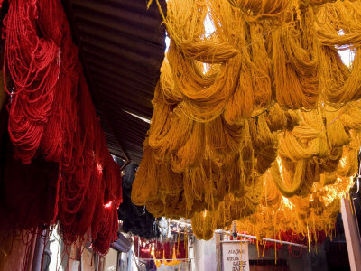 Dyers Souks, Freshly Dyed Wools Drying, Medina, Marrakech (Marrakesh), Morocco, North Africa