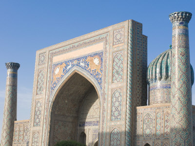 Sher Dor Medressa at the Registan, UNESCO World Heritage Site, Samarkand, Uzbekistan, Central Asia