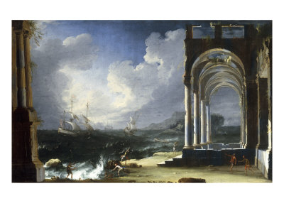 A Capriccio View with Classical Ruins by the Sea