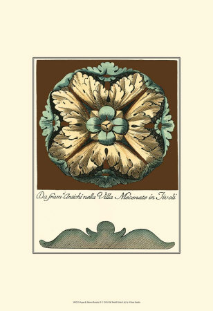 Aqua and Brown Rosette II Posters