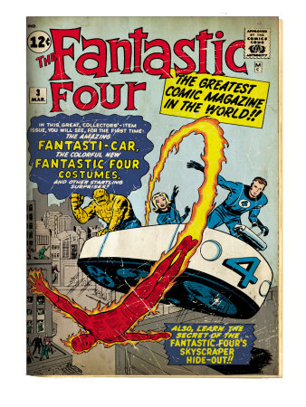 Marvel Comics Retro: Fantastic Four Family Comic Book Cover #3, Flying (aged)
