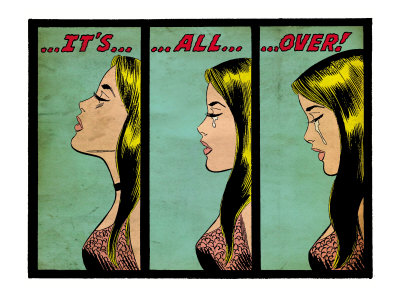 Marvel Comics Retro: Love Comic Panel, Crying, It's All Over! (aged) Art Print