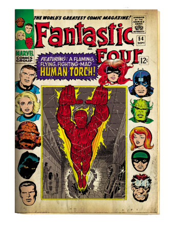 Marvel Comics Retro: Fantastic Four Family Comic Book Cover #54, Featuring the Human Torch (aged)