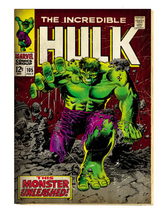 Marvel Comics Retro: The Incredible Hulk Comic Book Cover #105 (aged)