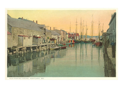 Historical print of fishing docks at Portland, Maine.