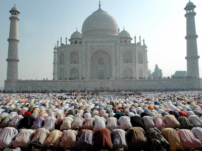 Muslim Faithful Pray at the Mosque in the Taj Mahal Complex to Celebrate Eid-Al-Fitr