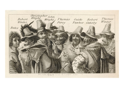 Guy Fawkes - English Gunpowder Plotter with Fellow Conspirators