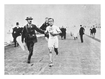 Johnny Hayes Winning the Marathon Race. Olympic Games, London 1908
