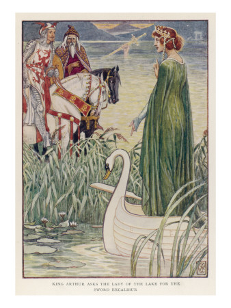 King Arthur (With Merlin by His Side) Asks the Lady of the Lake for Excalibur