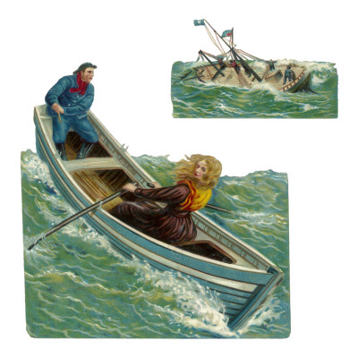 Rowing with Her Father to the Sinking Steamboat 'Forfarshire', 1838, Saving Five from the Wreck Posters