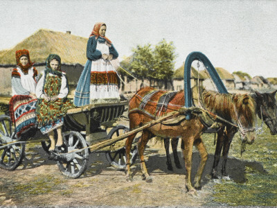 Three Russian Peasant Women in Traditional Costume with a Cart Drawn by Two Horses