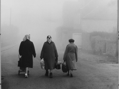 Three Old Ladies Walking Home Through the Winter Fog with their Shopping