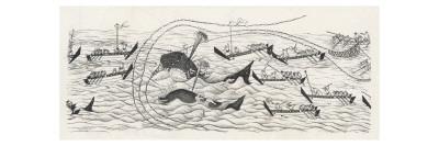 Whaling Scene in Japan