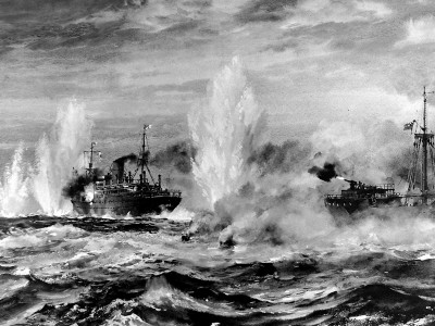 HMS 'Jervis Bay' Attacking the 'Admiral Scheer', Second World War