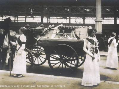 Funeral of Emily Davison; the Coffin at Victoria Station