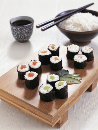 Close-Up of Sushi Rolls with a Bowl ...