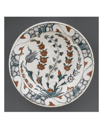 Dish with Tulips and Hyacinths Blooming Four Branches