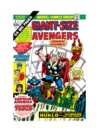 Giant-Size Avengers No.1 Cover: Thor, Captain America, Iron Man, Vision and Scarlet Witch Charging