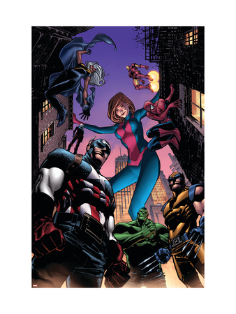 Marvel Adventures Avengers #28 Cover: Captain America, Giant-Girl, Spider-Man and Wolverine