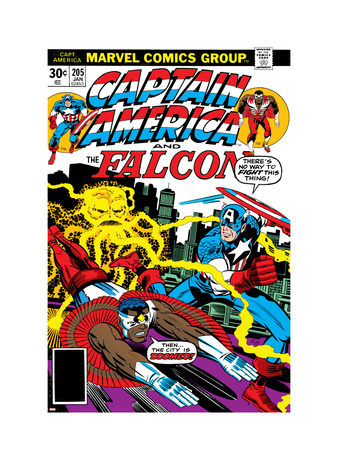 Captain America And The Falcon No.205 Cover: Captain America, Falcon and Agron Fighting and Flying