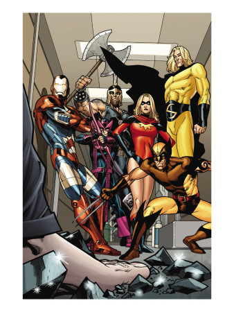 Dark X-Men #3 Group: Iron Patriot, Wolverine, Ms. Marvel, Hawkeye, Ares and Sentry Fighting
