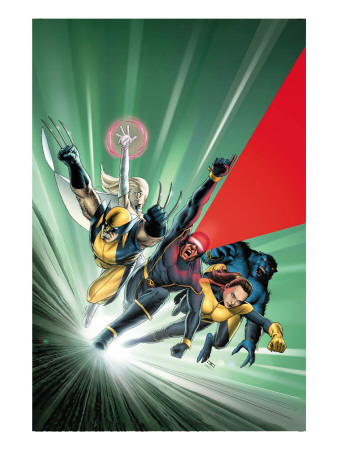 Astonishing X-Men #1 Cover: Cyclops, Shadowcat, Beast, Wolverine, Emma Frost and X-Men