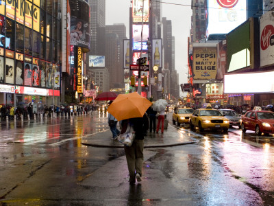 Pedestrians and Traffic in Times Square on a Rainy Afternoon