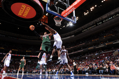 Milwaukee Bucks v Philadelphia 76ers: Corey Maggette and Elton Brand