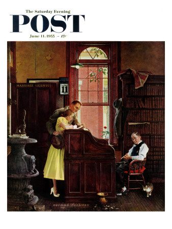 """Marriage License"" Saturday Evening Post Cover, June 11,1955"