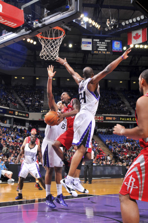 Houston Rockets v Sacramento Kings: Aaron Brooks and Carl Landry