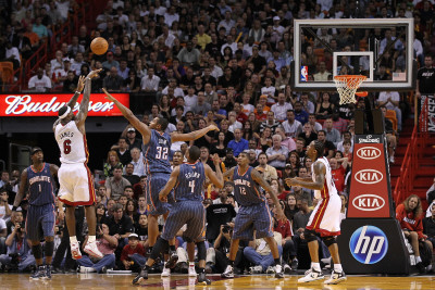 Charlotte Bobcats v Miami Heat: LeBron James and Boris Diaw