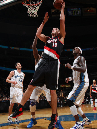 Portland Trail Blazers v Washington Wizards: Joel Przybilla and Gilbert Arenas