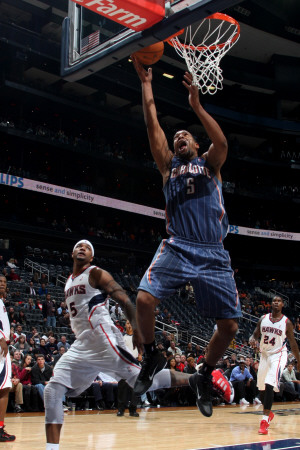 Charlotte Bobcats v Atlanta Hawks: Dominic McGuire and Josh Smith