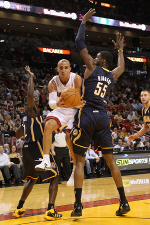 Indiana Pacers v Miami Heat: Carlos Arroyo and Roy Hibbert