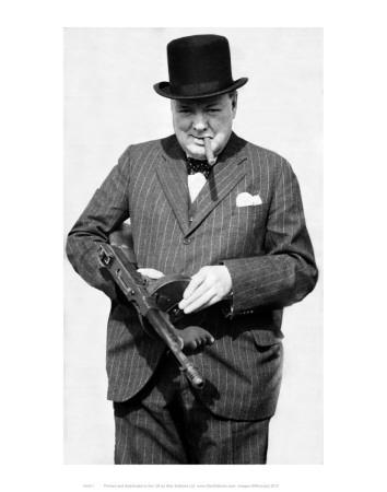 Winston Churchill with Tommy Gun Art Print